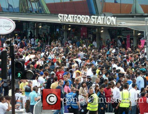 Atmosphere outside Stratford train station beside the Olympic...