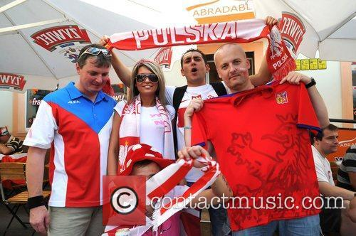 Atmosphere Fans of Poland and Czech Republic show...