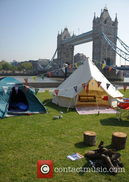 A pop-up camp site appears in Potter's Field,...