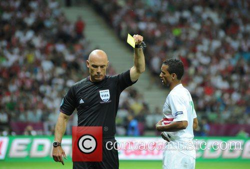 Luis Nani and Howard Webb UEFA Euro 2012...