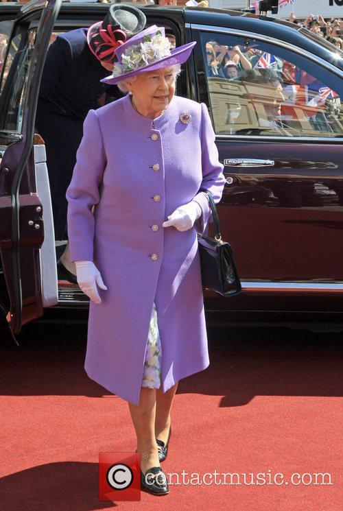 Queen Elizabeth II visits Hitchin Market Place during...