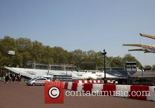 Atmosphere Preparations are underway outside Buckingham Palace for...