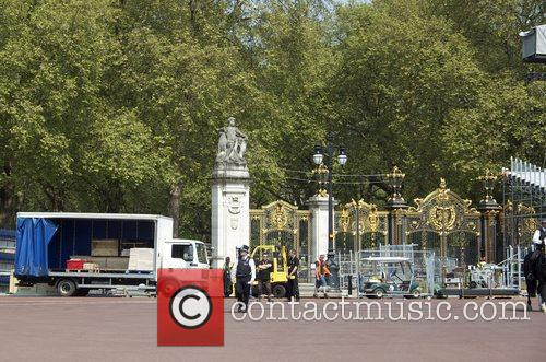 Preparations are underway outside Buckingham Palace for The...