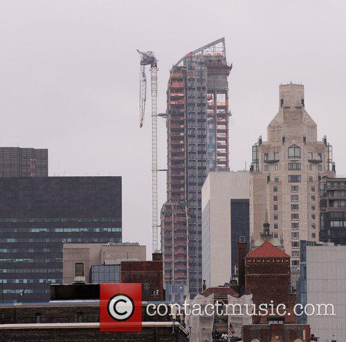 Damaged Crane above 57th street in Midtown Manhattan...