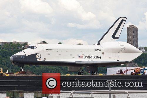The NASA space shuttle prototype Enterprise waits to...
