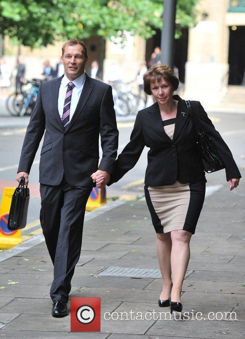 Arrives at Southwark Crown Court for his trial...