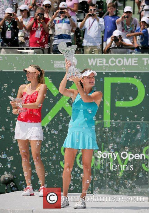 Agnieszka Radwanska and Maria Sha (left) at the...