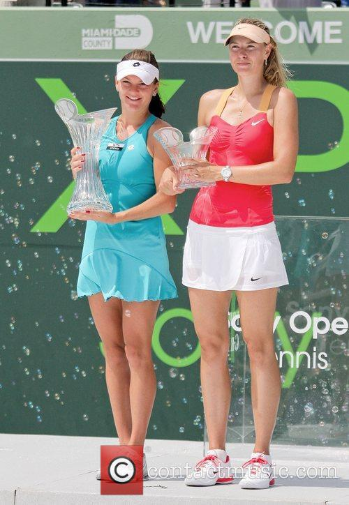 Agnieszka Radwanska and Maria Sha (right) at the...