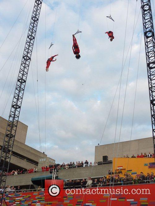 Extreme action dancers perform 'Speed Angels' outside the...