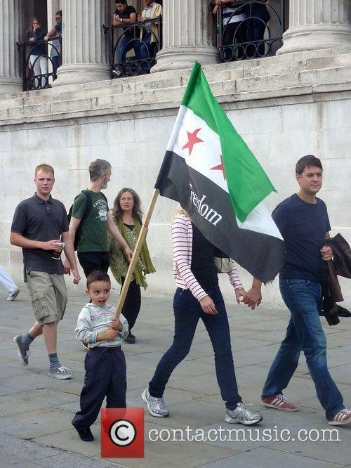 Freedom For Syria Protest in Trafalgar Square London,...