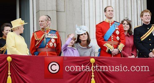 Queen Elizabeth II, Kate Middleton, Prince Harry, Prince Philip and Prince William 3