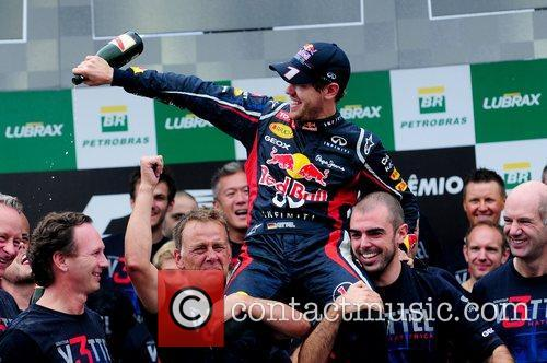 World Champion, D, Sebastian Vettel, Germany, Red Bull Racing Renault, Team, Celebration and Brazilian Grand Prix 11