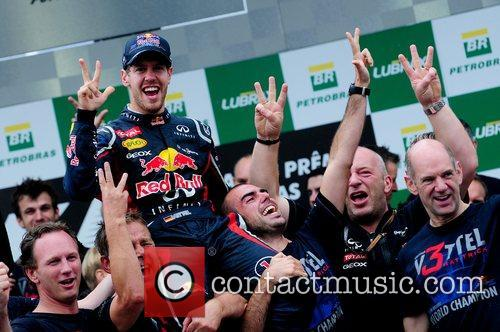 World Champion, D, Sebastian Vettel, Germany, Red Bull Racing Renault, Team, Celebration and Brazilian Grand Prix 7