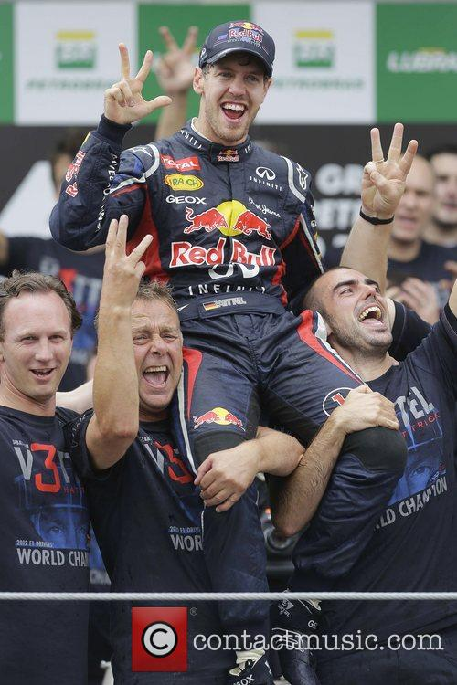 World Champion, D, Sebastian Vettel, Germany, Red Bull Racing Renault, Team, Celebration and Brazilian Grand Prix 3