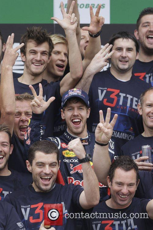 World Champion, D, Sebastian Vettel, Germany, Red Bull Racing Renault, Team, Celebration and Brazilian Grand Prix 16