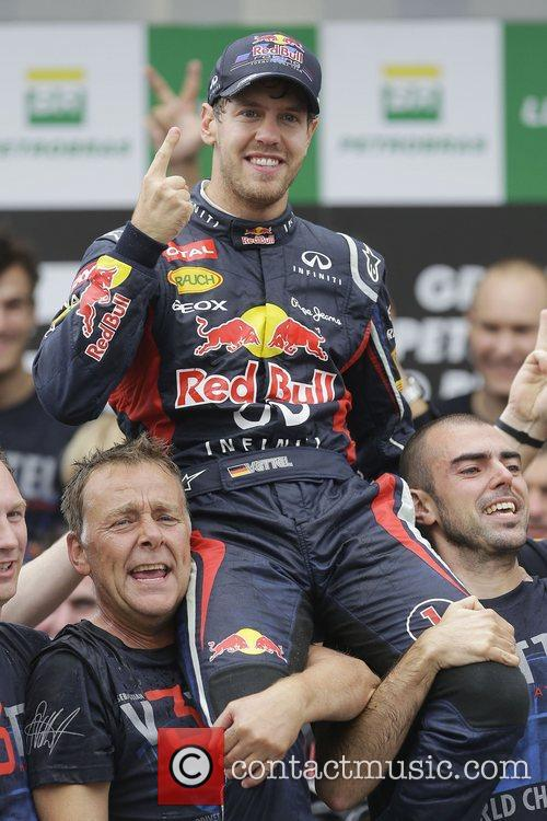 World Champion, D, Sebastian Vettel, Germany, Red Bull Racing Renault, Team, Celebration and Brazilian Grand Prix 8