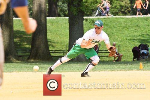 Nick Jonas playing for his Broadway Show League...