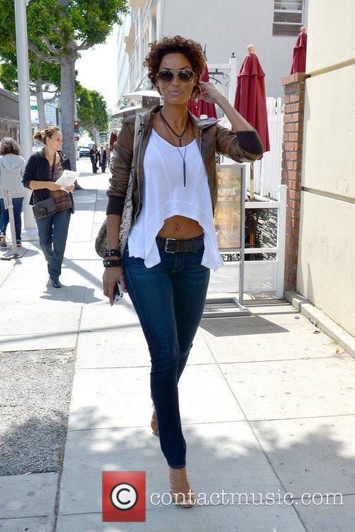 Nicole Mitchell is seen leaving Urth Caffe after...