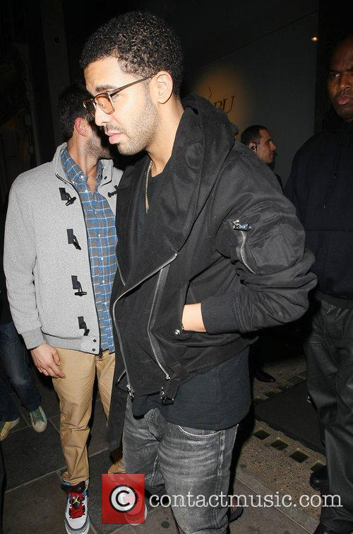 Drake leaving Nobu Berkeley restaurant. London, England