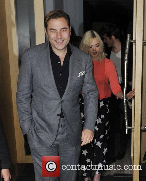 David Walliams and Fearne Cotton leaving Nobu in...