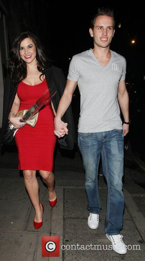 Imogen Thomas and Adam Horsley leaving Nobu restaurant...