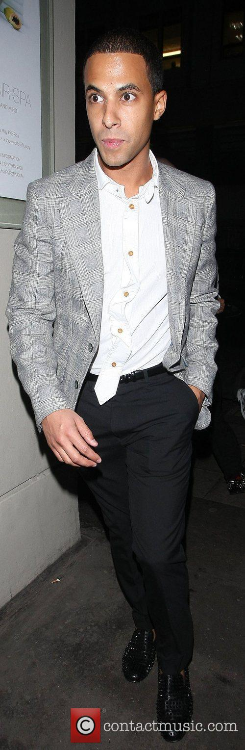 Marvin Humes leaving Nobu restaurant London, England