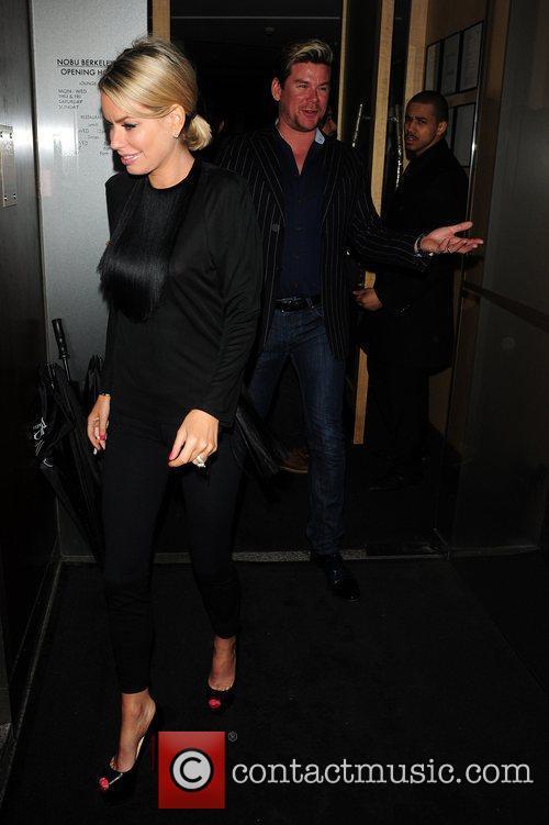 Caroline Stanbury and Phil Turner outside Nobu restaurant...