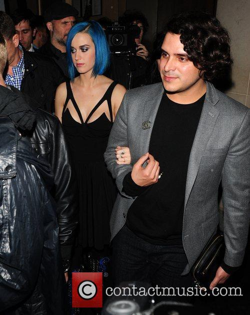 Katy Perry seen leaving Nobu restaurant with a...