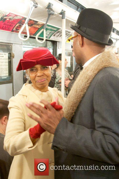 Stylish New Yorkers have nostalgic fun on a...
