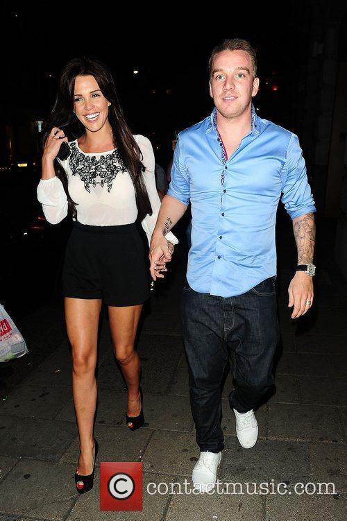 Danielle Lloyd and Jamie O'Hara leaving Novikov restaurant...