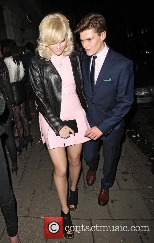 Pixie Lott and boyfriend Oliver Cheshire leaving Novikov...