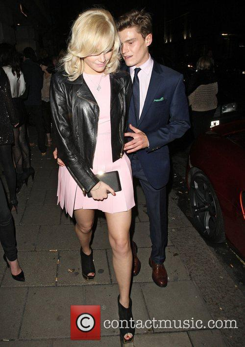 Pixie Lott and boyfriend Oliver Cheshire leaving Novikov...