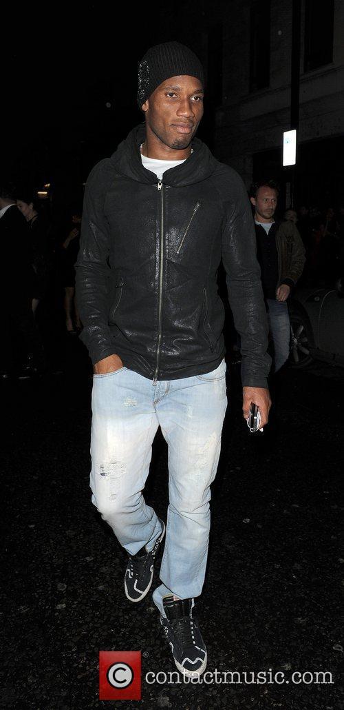 Chelsea FC player Didier Drogba leaving Novikov restaurant.