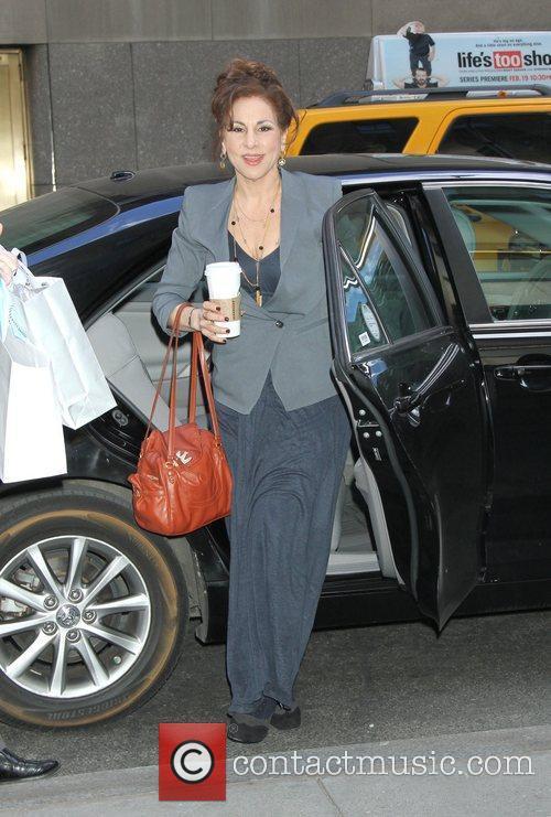 kathy Najimy Celebrities arrive at the studio to...