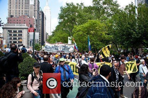 Occupy Wall Street protesters during a May Day...