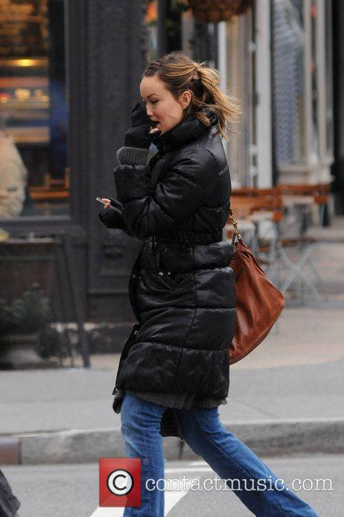 Olivia Wilde seen braving the cold weather in...