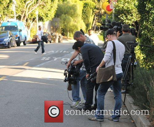 Newspaper and television cameras at Olivier Martinez's West...