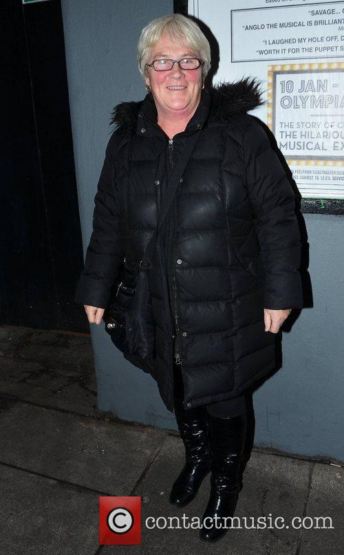 ann grimes outside the stage door of 5970966