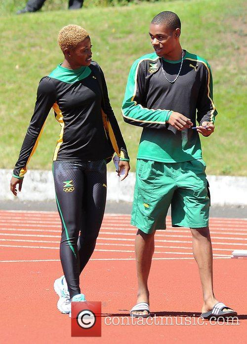 Jamaican track and field team athletes training session...