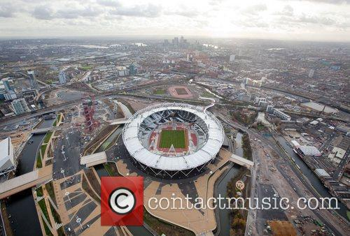 Aerial view showing a section of the Olympic...