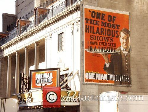 Poster promoting James Corden in the Broadway play...