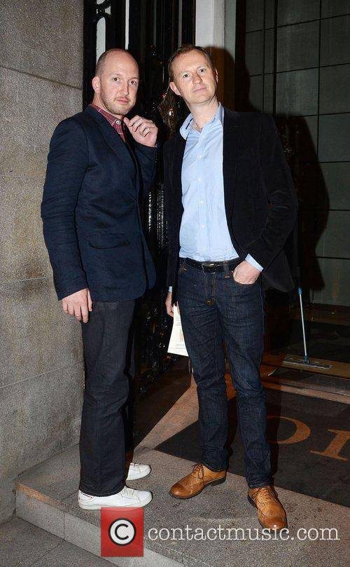Mark Gatiss (R) after attending a showing of...