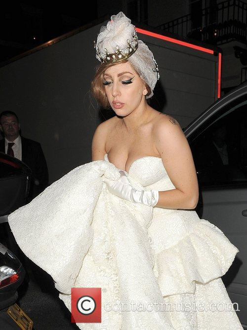 Lady Gaga arriving at The Arts Club wearing...