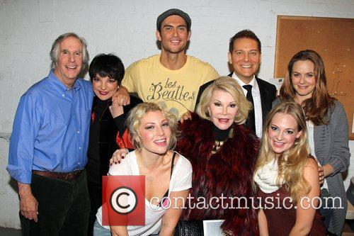 Henry Winkler, Liza Minnelli, Ari Graynor, Cheyenne Jackson, Joan Rivers, Michael Feinstein, Jenni Barber, Alicia Silverstone Backstage, Broadway, The Performers and Longacre Theatre 1