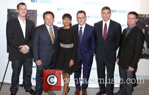 The Cast, Person, Interest, L-R, Jonathan Nolan, Kevin Chapman, Taraji P. Henson, Michael Emerson, Jim Caviezel and Greg Plageman 1