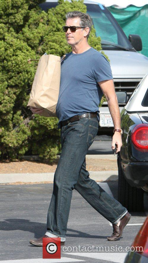 Pierce Brosnan goes shopping at Malibu Farmer's Market...
