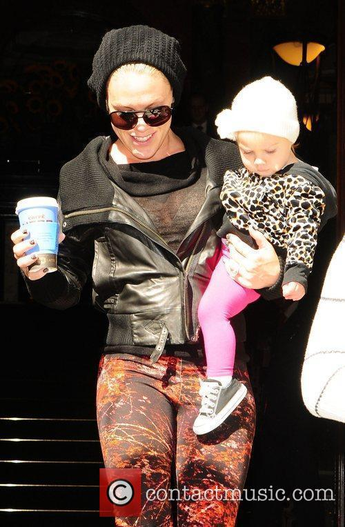 Pink aka Alecia Moore leaving her hotel with...