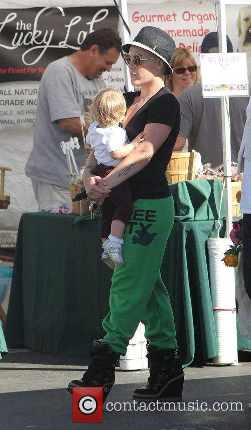 Pink real name Alecia Moore, carries her daughter...