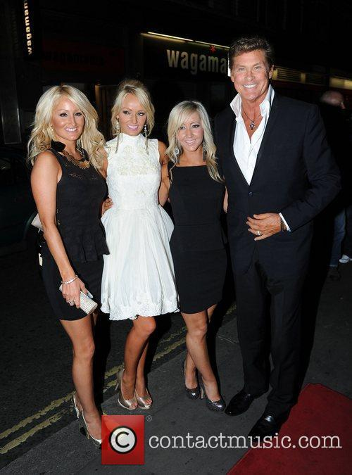 David Hasselhoff and girlfriend Hayley Roberts with guests...