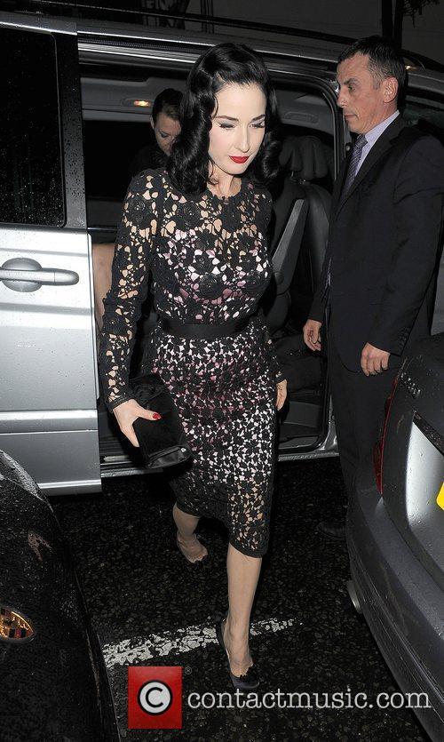 Dita Von Teese arriving at the Playboy Club...
